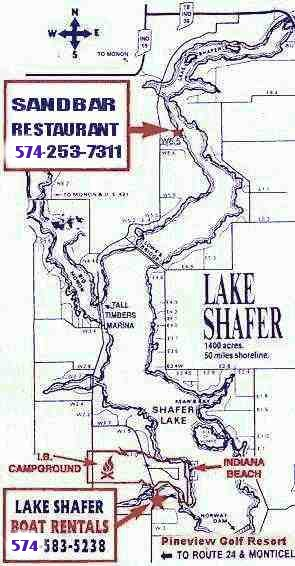 Map to Lake Shafer Boat Rentals
